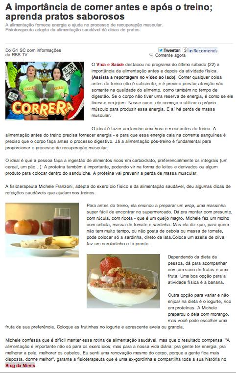michelle franzoni imprensa vida e saude rbs tv alimentação pré e pós treino   blog da mimis