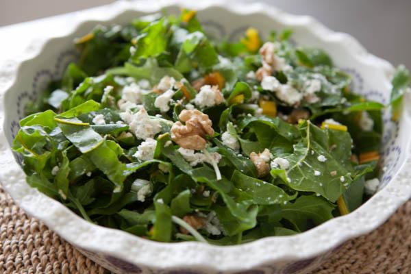 Salada verde com nozes e queijo de cabra