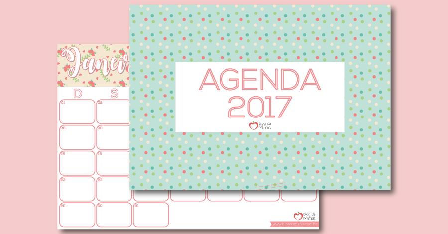 Agenda Mimis 2017: organizador mensal para imprimir