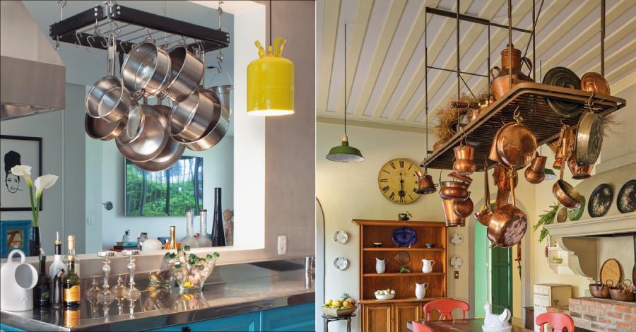 Decor: cozinha mais bela e prática com panelas penduradas