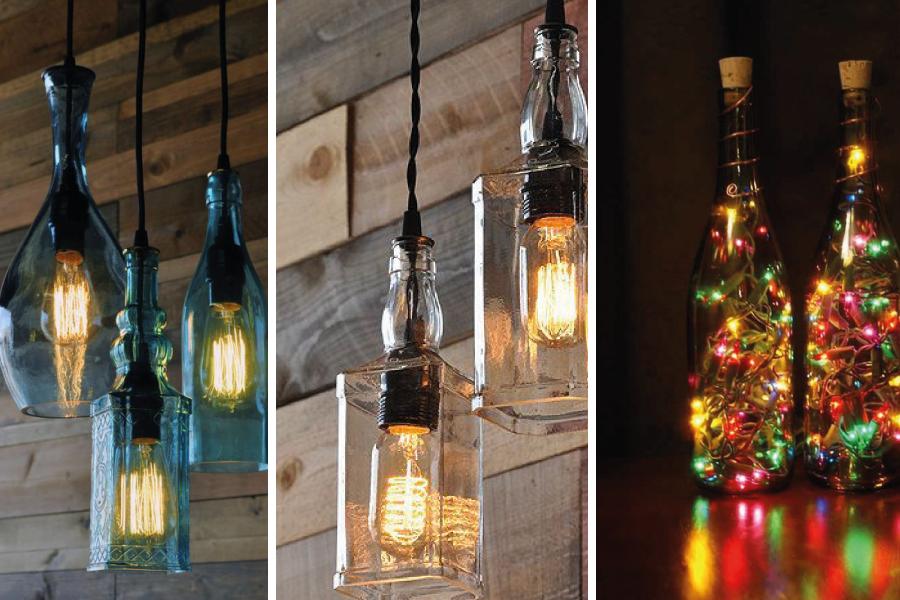 Luminárias de garrafa na decoração